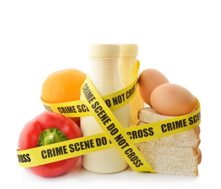 food with crime scene tape