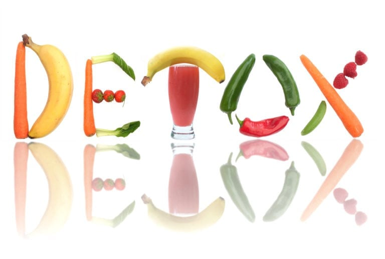 food spelling out detox letters